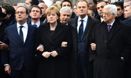 (L-R) French President Francois Hollande, German Chancellor Angela Merkel, President of the European Council Donald Tusk, Palestinian Authority President Mahmoud Abbas during a silent march against terrorism in Paris, France on January 11, 2015. Several European heads of state joined the manifestation to express their solidarity following the recent terrorist attacks in France and to commemorate the victims of the attack on French satirical weekly Charlie Hebdo and a kosher supermarket in Paris.   les chefs d'etat